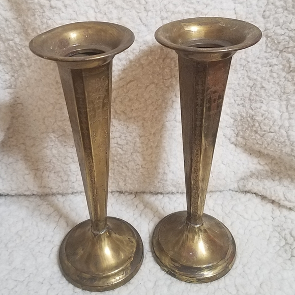 Pair of Vtg Metal/Brass Etched Vases